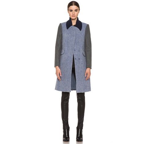 Moss Chevron Long Wool Jacket in Grey and Blue