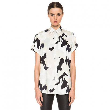 Dolman Button Up in Light Camo