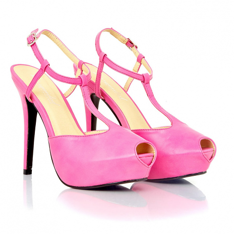 Jaqen Peep Toe Leather T Bar Sandals In Hot Pink