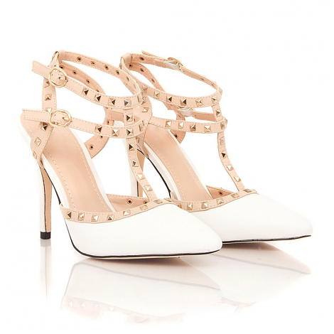 Pisces Studded Strappy Heels In White