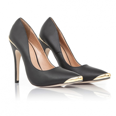 Dorma Leather Court Heels With Gold Details