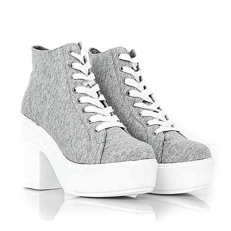 Rikina Canvas Trainers With White Outsole In Grey