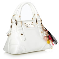 White Small Textured Patent Kettle Bag