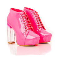 Zarah Ombre Platform Lace Boots In Neon Pink