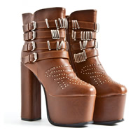 Hadia Ultimate Leather Stud Platform Boots In Tan