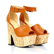 Onha Leather and Cork Heeled Wedges In Tan