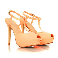 Jaqen Peep Toe Leather T Bar Sandals In Neon Coral