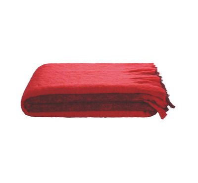 Mohair throw red