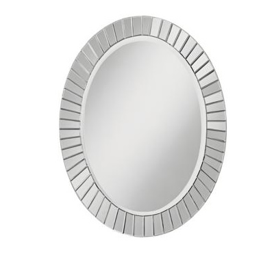 mirrored frame oval wall mirror