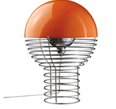 Verpan wire table lamp orange
